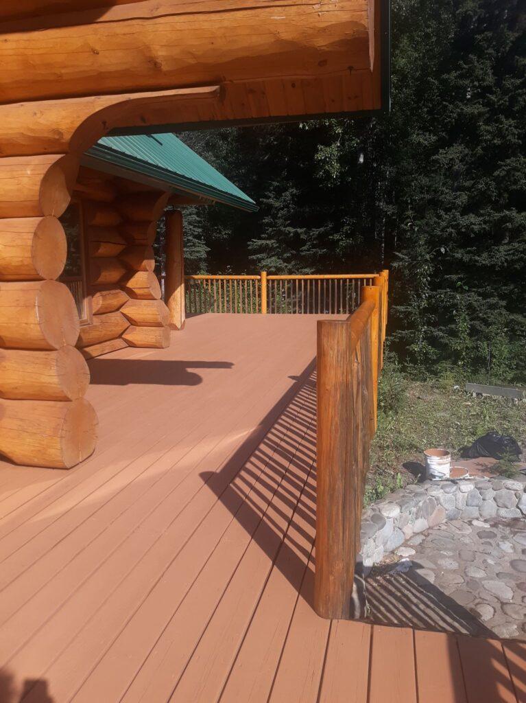 Deck Repair - Log cabin deck- Acorn Maintenance Repair